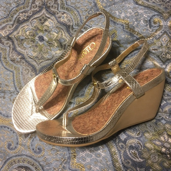 e24a15f6ad Chaps Shoes | Gold Wedge Sandals | Poshmark